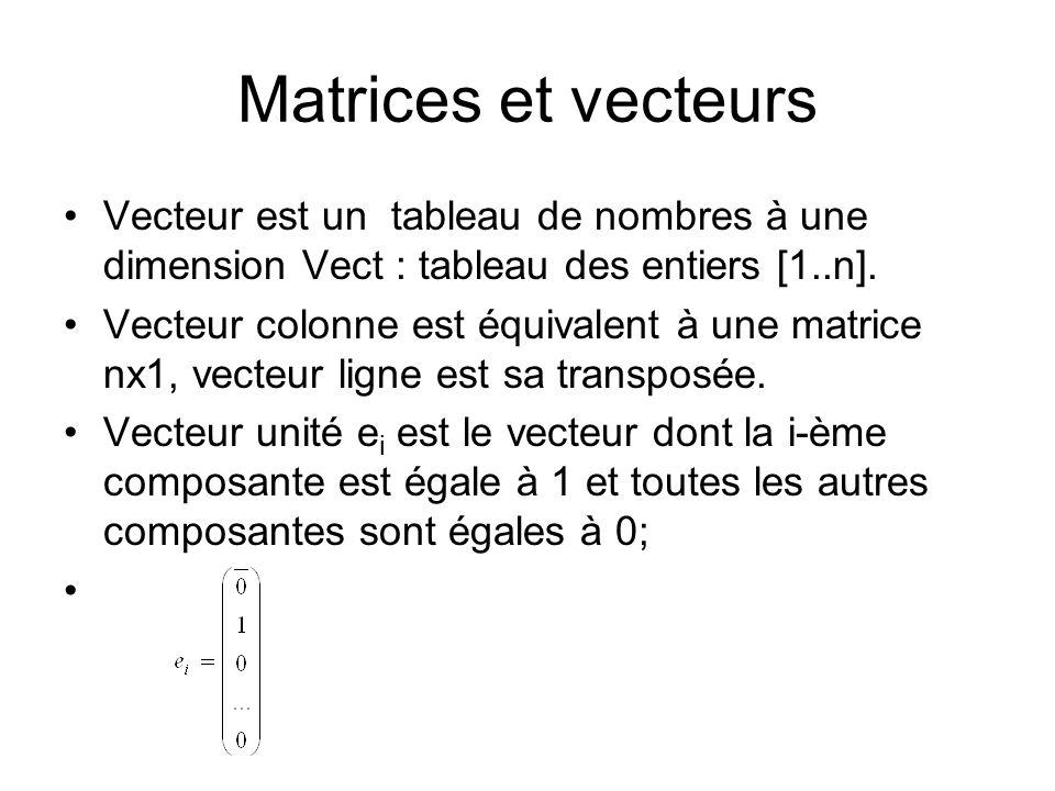 Matrices et vecteurs Vecteur est un tableau de nombres à une dimension Vect : tableau des entiers [1..n].